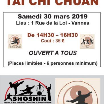Samedi 30 mars 2019 : Stage de Tai Chi Chuan
